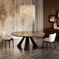 Comprar Mesa Eliot Round con marmol Emperador de Cattelan Italia, disponible en Manuel Lucas Muebles | Tienda de muebles especializada.