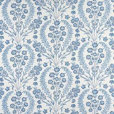 Chelwood Fabric from the Ashdown Collection by Nina Campbell is a blue floral fabric featuring a colourful garland of carnations. Buy it today! Blue And White Fabric, Blue Ivory, White Fabrics, Deeper Shade Of Blue, Shades Of Blue, Green Floral Wallpaper, Blue And White Wallpaper, Osborne And Little, Nina Campbell