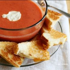 Tomato soup + grilled cheese! My favorite.