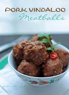 A low carb and gluten free meatball recipe inspired by the classic Goan dish Pork Vindaloo. Gluten free, Keto, Low Carb, and Paleo! Paleo Indian Recipes, Best Low Carb Recipes, Paleo Recipes Easy, Pork Recipes, Cooking Recipes, Free Recipes, Recipies, Low Carb Meatball Recipe, Meatball Recipes
