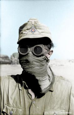 An Afrikakorps member showcases how he tries to protect himself from the notorious desert sandstorms, North Africa, 1941.
