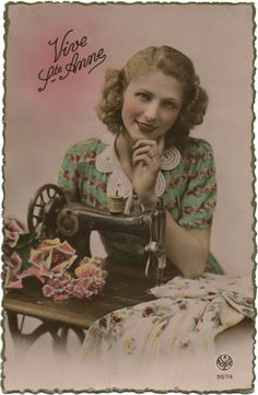 Vintage sewing postcard - lovely lady posing with sewing machine. Vintage Crafts, Vintage Ephemera, Quilting Quotes, Sewing Quotes, Images Vintage, Vintage Photographs, Antique Sewing Machines, Sewing Art, Sewing Notions