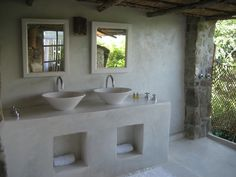Cemcrete Cement-Based Finish Bathroom Vanity Cement Bathroom, Diy Bathroom Vanity, Concrete Kitchen, Diy Vanity, Bathroom Countertops, Bathroom Layout, Bathroom Interior, Painted Cement Floors, Cement House