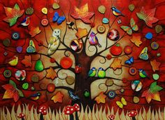 Tree Of Life - Autumn by Kerry Darlington, available as Framed. ✅FREE DELIVERY✅ on prints & sculptures orders over Autumn Art, Autumn Trees, Kerry Darlington, Art Club Projects, Diamond Wall, Tree Illustration, Illustrations, Resin Art, Tree Of Life