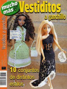 Album Archive - Vestidos a Ganchillo Crochet Doll Pattern, Crochet Dolls, Crochet Baby, Vestidos Country, Crochet Barbie Clothes, Barbie Dress, Barbie And Ken, Stuffed Toys Patterns, Diy Clothes