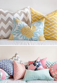 Caitlin Wilson Textiles pretty pillows chevron yellow tan nude blue floral