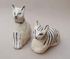 Ceramic cat buds by Kaye Blegvad