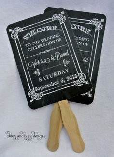 Chalkboard Wedding Fans by abbey and izzie designs on Etsy  #chalkboardfans, #chalkboardwedding, #handfans, #weddingfans, #countryweddingfavors, #weddingfavors