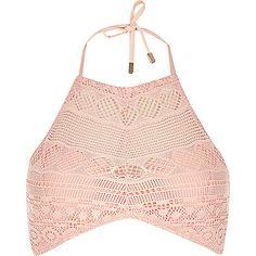 Haut de bikini en dentelle au crochet rose