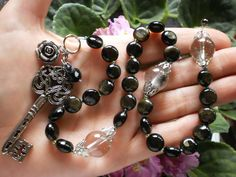 Hecate's Key Hand Made Witches Ladder Prayer Beads Lodolite Obsidian Wicca Witch