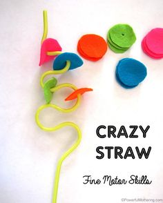 Awesome way to use a simple crazy straw and add fine motor skills! with PowerfulMothering.com Repinned by SOS Inc. Resources pinterest.com/sostherapy/.