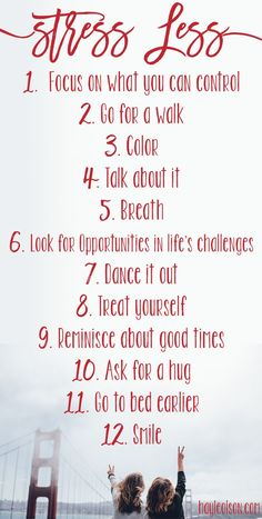 Finals week can be stressful. Use this list to help you get through any stressful situation! Click through to read more, or pin to save for later. :) www.hayleolson.com #Stress