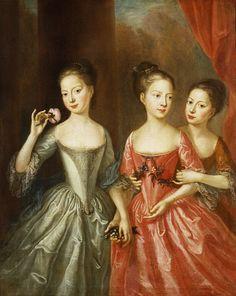 Martin Maingaud - Portrait of Three Girls 18th Century Clothing, 18th Century Fashion, European Costumes, Old Paintings, Art Plastique, Historical Clothing, Portrait Art, Fashion History, Art History