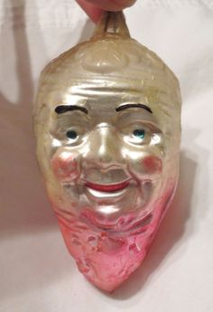 antique Christmas ornament glass character head Parsnip Carrot man pink white