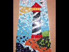 MOSAICO Teja decorada con mosaico de un faro