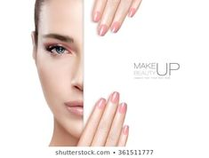 Beauty Makeup and Nai Art Concept. Beautiful fashion model woman with soft makeup, perfect skin and trendy pink nails, half face with a white card template. High fashion portrait isolated on white – Best Ideas 2019 Pink Smoky Eye, Smoky Eye Makeup, Soft Makeup, Beauty Makeup, Makeup Looks, Gold Wedding Crowns, Hair Up Styles, Cooking Classes For Kids, Beauty Shoot