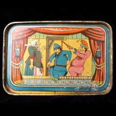 Childs 1890 Tin Litho Tea Set Tray Punch & Judy Made in USA c1890 from childhoodantiques on Ruby Lane