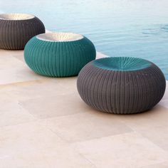 Shop Modern Outdoor Sofas at YLiving. Create a stylish outdoor seating space with a modern outdoor sofa. Outdoor Stools, Outdoor Pouf, Outdoor Dining Chairs, Outdoor Seating, Outdoor Living, Outdoor Spaces, Dining Table, Contemporary Outdoor Sofas, Modern Outdoor Furniture