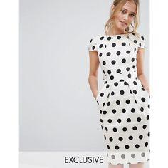 Closet Polka Dot Cap Sleeve Midi Dress ($83) ❤ liked on Polyvore featuring dresses, white, calf length dresses, white cap sleeve dress, polka dot dress, cotton midi dress and boat neck dress