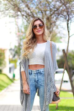 Crop top with knit sweater and high waist denim