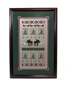 Framed Cross Stitch Forest Treasures Moose Cross by Moosemom