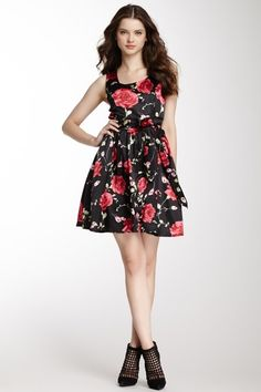 Sleeveless Floral Print Dress - sweet rose print