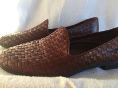 Womens Bass Regina Brown Woven Leather Flat Shoes  Size  11 M Fab #Bass #flats #Casual