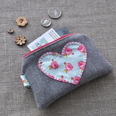 Appliquéd Heart Purse - Coin Purse, Handmade Purse £10.00