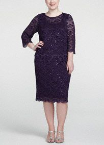Dazzle, glitter, and shine in this all over sequin Mother of the Bride dress!  3/4 sleeve sheath dress offers the perfect amount of coverage for any special occasion.  All over sequin detail and scalloped edge skirt adds drama and really makes this dress sparkle!  Features side pockets for added convenience and comfort.  Fully lined. Back zip. Imported nylon/poly/spandex blend. Hand wash.