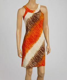 Another great find on #zulily! Orange & White Stripe Sleeveless Dress #zulilyfinds