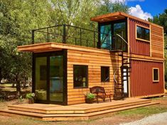 Shipping container architecture (or cargotecture) is not a new concept, but there are those who are taking cargo home design to new and glorious levels. Waco-based Cargo Home has created the Helm, an … Tiny House Shipping Container, Building A Container Home, Shipping Containers, Cargo Container Homes, Container Design, Tiny Container House, Sea Containers, Container Plants, Container Gardening