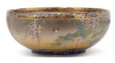 A lobed-rimmed Satsuma bowl  By Kinkozan, Meiji era (1868-1912)