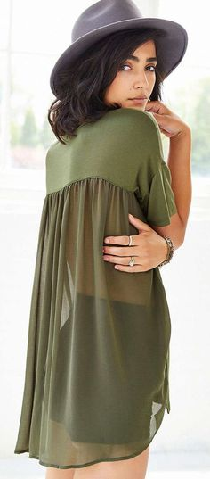 Beautiful Olive Tee with Sheer Back