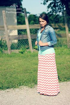 Coral Chevron Maxi Skirt w/ Denim Jacket