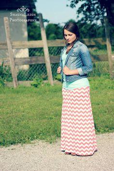 Coral Chevron Maxi Skirt w/ Denim Jacket