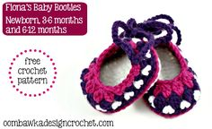 Free Pattern - Crochet Baby Booties - sizes Newborn, 3-6 months and 6-12 months.