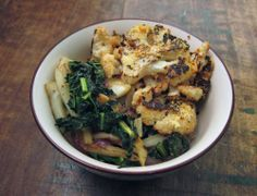 Roasted cauliflower over kale and fennel with garlicky tahini dressing   everybody likes sandwiches