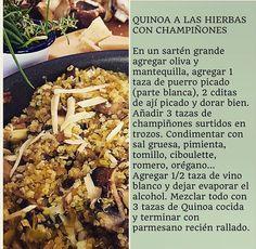 Quinoa a las hierbas con champiñones VIRGINIA DEMARIAS Mashed Potatoes, Beef, Chicken, Cooking, Ethnic Recipes, Dinner Ideas, Food, French, Gourmet