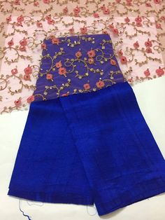 Pure raw silk saree with embroidery blouse