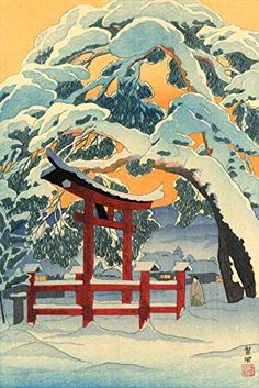 "Amazon.com: Japanese Art Print ""Pine Trees at Ogo Village Northern Shinshu"" by Kasamatsu Shiro: Posters & Prints"