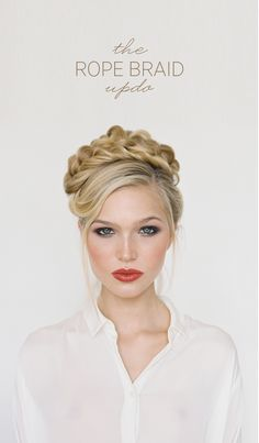 An elegant yet sexy rope braid updo any bride can learn to DIY! Click here to see how you can easily rock a rope braid on your wedding day. #weddinghairstylesforlonghair #diyweddinghairstyles #diyweddingtutorial