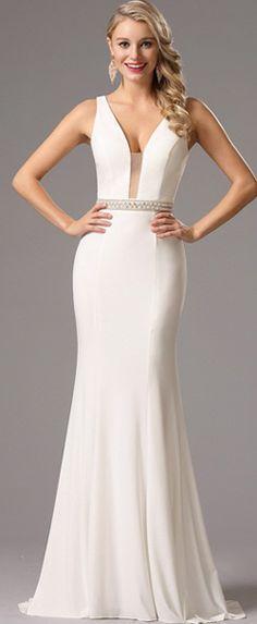 Sexy Plunging Neckline White Prom Dress Sexy Formal Dresses 586661b13