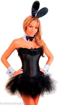 d60cb106f Black Playboy Bunny Corset Costume with Mini Tutu or Ruffle Mini Skirt   FullOutfits Halloween Corset