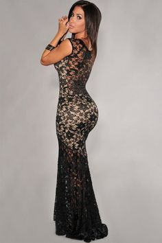 """Two-Toned Lined Prom Mermaid Dress Party Evening """"Elegant Series"""" Long Lace Evening Gown"""