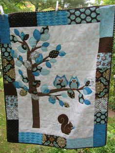 baby boy owl | Baby Boy Woodland double OWL quilt of flannel & cotton in blue and ...