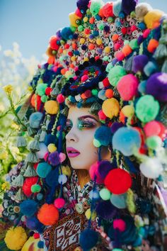 READY TO SHIP Pan inspired colorful Pom Pom  headpiece