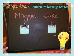 Chalkboard Message Center - This would make a great teacher gift that you can personalize!  Add a cute tag, and a box of chalk!