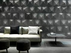 D_Angle large size (40x40 cm) architectural ceramic wall tiles with a diamond-cut pattern. Made by ORIGINEPIETRA. #design #interior #contemporary #modern #new #concrete #pattern #surface #texture #grey #ceramic