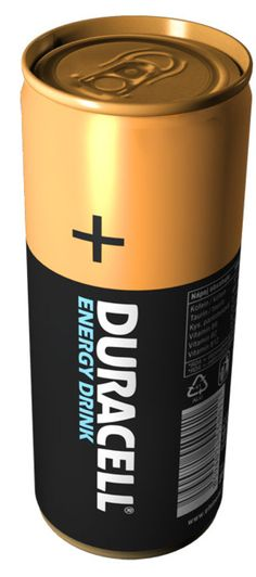 Duracell energy drink plays off the Duracell battery package design. #Packaging