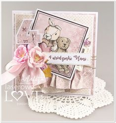 Laserowe LOVE: Wyzwanie #15 / Challenge #15 Invitation Cards, Invitations, Baby Album, Card Making Inspiration, Love Cards, Baby Cards, Birthday Cards, Teddy Bear, Grandkids